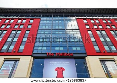 BIRMINGHAM, UNITED KINGDOM - MAY 14, 2014 - The Mailbox shopping complex building, Birmingham, West Midlands, England, UK, Western Europe, May 14, 2014. - stock photo