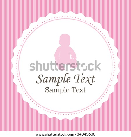 Birth announcements. Girl version card. - stock photo