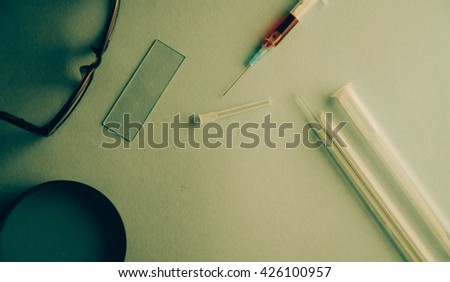 Birth control pill, Injection Medication and Injection devices made vintage style - stock photo