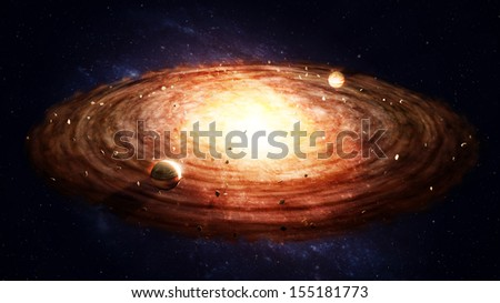 Birth of a solar sytem - protoplanetary disk - stock photo