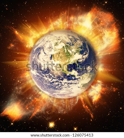 Birth of Earth in space. Elements of this image furnished by NASA. - stock photo
