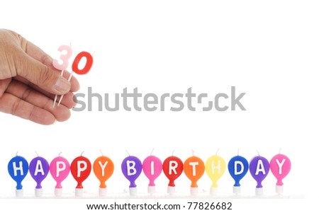 birthday and holiday candles for decorations - stock photo