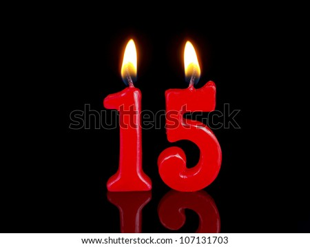 Birthday-anniversary candles showing Nr. 15 - stock photo