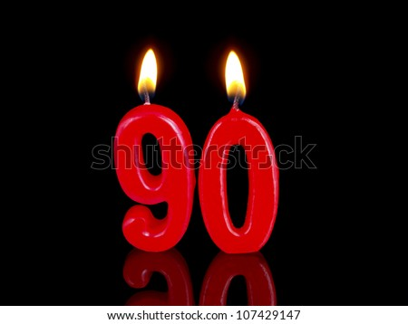 Birthday-anniversary candles showing Nr. 90 - stock photo
