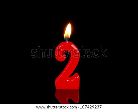 Birthday-anniversary candles showing Nr. 2 - stock photo