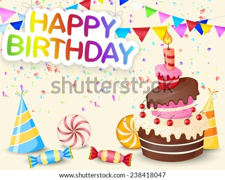 Birthday background with birthday cake - stock photo