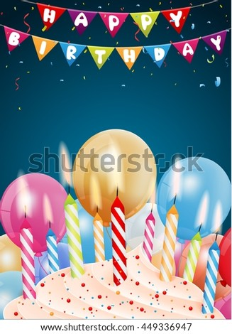 Birthday background with colorful candle and light - stock photo
