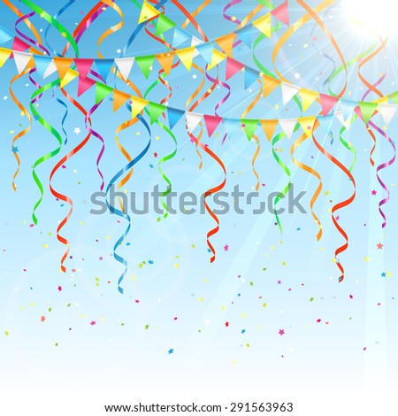 Birthday background with colorful  streamers, confetti and pennants, illustration. - stock photo