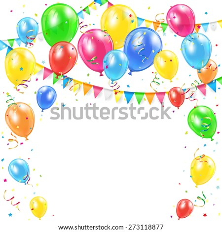 Birthday background with Holiday decoration, colorful balloons, pennants and confetti, illustration. - stock photo