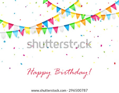 Birthday background with multicolored pennants and confetti, illustration. - stock photo