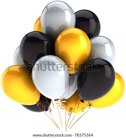 Birthday balloons party balloon celebrate holiday decoration black yellow white baloons. Happy joy positive icon concept. Anniversary graduation greeting card. 3d render isolated on white background - stock photo