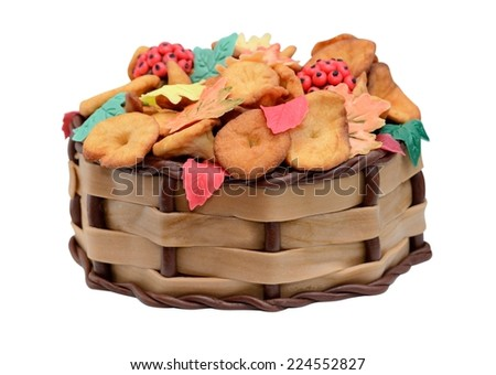 Birthday cake Autumn with chanterelle, leaves and berries isolated - stock photo