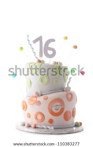 Birthday cake for a sixteen years old teenager - stock photo