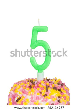 birthday cake for age 5 (isolated over white) - stock photo