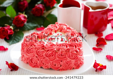 Birthday cake for Valentine's Day with roses. - stock photo