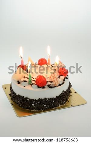 birthday cake isolate on white background - stock photo