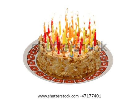 birthday Cake isolated on white - stock photo