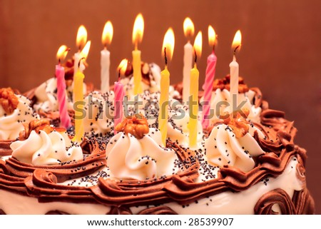 Pictures Of Birthday Cakes With Candles Lit : 10th Birthday Cake Stock Photos, Images, & Pictures ...