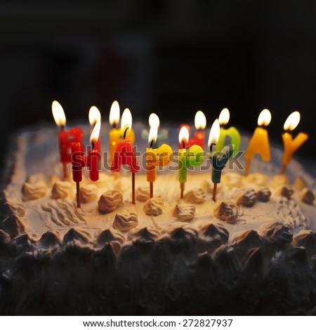 Birthday cake low light - stock photo