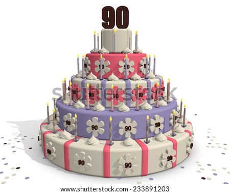 Birthday cake or cake for an anniversary - 90 years - stock photo