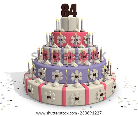 Birthday cake or cake for an anniversary - 84 years - stock photo