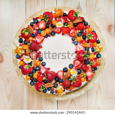 birthday cake  with berries - stock photo