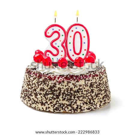 Birthday cake with burning candle number 30 - stock photo
