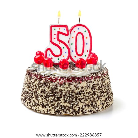 Birthday cake with burning candle number 50 - stock photo