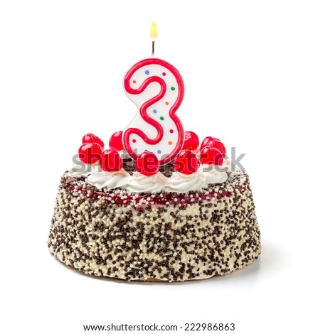Birthday cake with burning candle number 3 - stock photo
