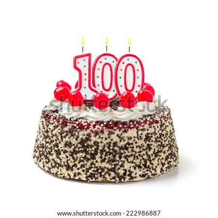 Birthday cake with burning candle number 100 - stock photo