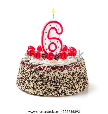 Birthday cake with burning candle number 6 - stock photo