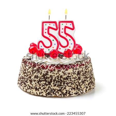 Birthday cake with burning candle number 55 - stock photo