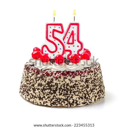 Birthday cake with burning candle number 54 - stock photo