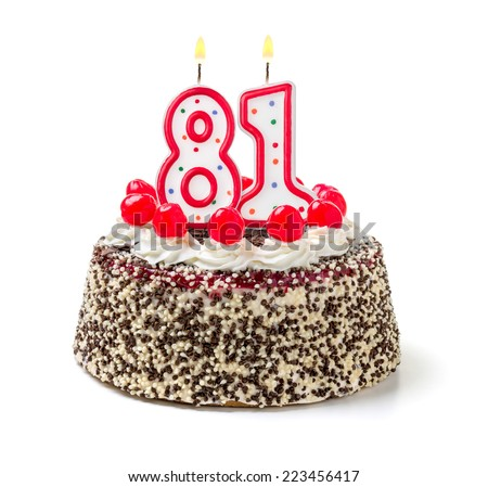 Birthday cake with burning candle number 81 - stock photo