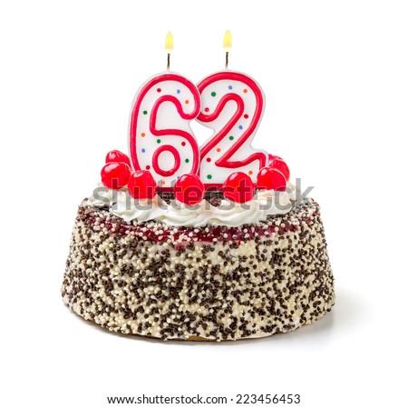 Birthday cake with burning candle number 62 - stock photo