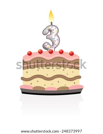 birthday cake with lit candle number three - stock photo