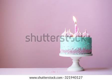 Birthday cake with one candle - stock photo