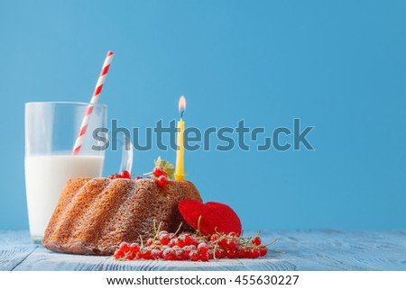 Birthday cake with  one candle on color background - stock photo
