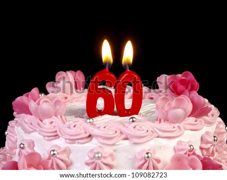 Birthday cake with red candles showing Nr. 60 - stock photo
