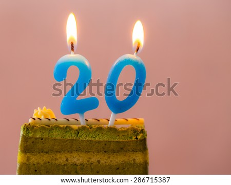 Birthday cake with the number 20 in the pink. - stock photo