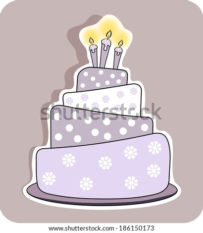 birthday cake with three lit candles - isolated  - stock photo