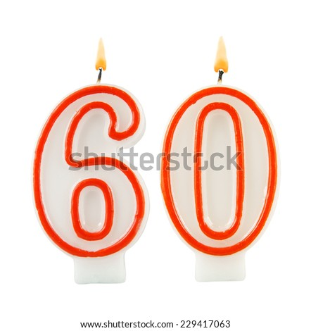 Birthday candle on black background, number 60 - stock photo