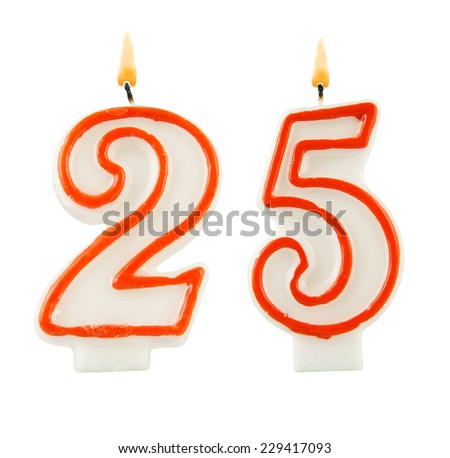 Birthday candle on black background, number 25 - stock photo