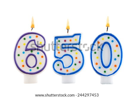 Birthday candle on white background, number 650  - stock photo