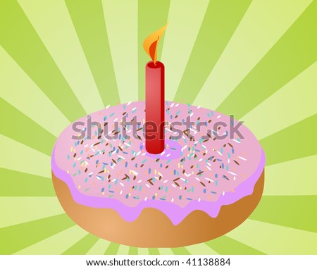 Birthday candle with lit candle festive illustration - stock photo