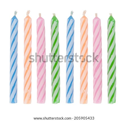 Birthday candles isolated on white background. - stock photo