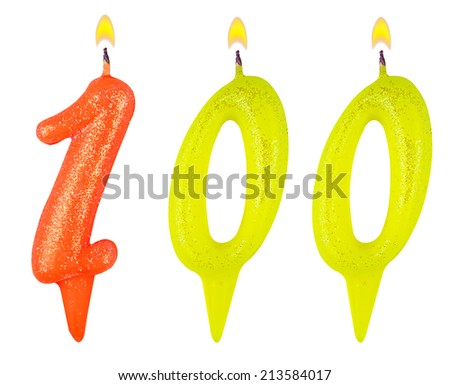 Birthday candles number one hundred isolated on white background - stock photo