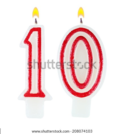 Birthday candles number ten isolated on white background - stock photo