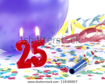 Birthday candles showing Nr. 25 - stock photo