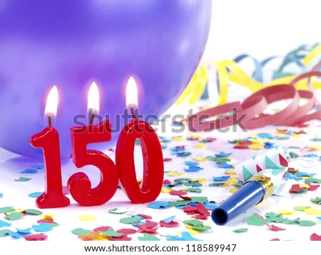 Birthday candles showing Nr. 150 - stock photo